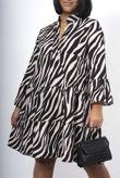Stone Zebra Print Smock Dress