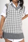 Split Hem Houndstooth Knitted Vest