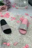 Black Block Coloured Glitter Sliders