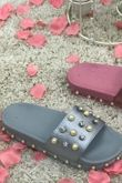 Grey Pearl Diamante Rubber Sole Slider