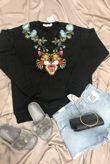 Flower Applique Sweat Shirt