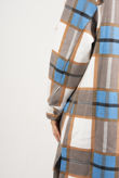 Sky Blue With Brown Check Longline Shacket