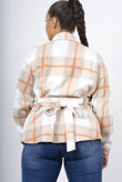 Beige Checked Belted Dipped Hem Shacket