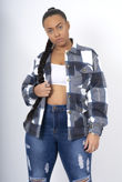 Navy Checked Belted Dipped Hem Shacket