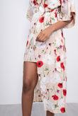 Beige Floral Print Kimono Sleeve Wrap Midi Dress