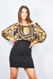 Black Baroque Bardot Dress