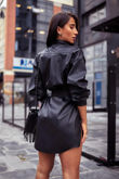Black Belted Leather Look PU Shirt Dress