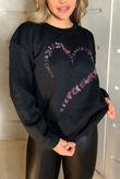 Black Butterfly Heart Sweatshirt