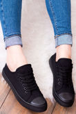 Black Canvas Lace Up Flat Trainers
