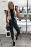 Black Coated Paperbag Waist Belted Trouser