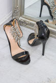 Black Diamante Tassel Heel