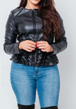 Black Faux Leather Zip Up Ruffle Belted Jacket