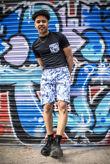 Black Floral Print T-Shirt And Shorts Set