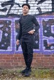 Black Hybrid Pocket Muscle Fit Pullover Tracksuit
