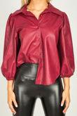 Black Jasmine Flounce Leather Shirt