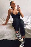 Black Jersey Cami Scoop Neck Jumpsuit