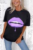 Black Lilac Lips Oversized Tee