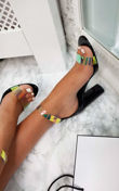 Black Perspex Strap Barely There Heels