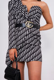 Black Printed One Shoulder Belted Blazer Dress