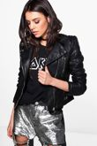 Black Quilted Sleeve Faux Leather Biker Jacket Size S