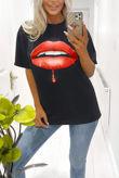 Black Red Lips Oversized Tee