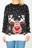 Black  Reindeer Christmas Jumper