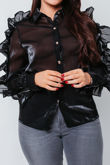 Black Ruffle Zip Sleeve Shirt