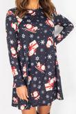 Black Santa Snowflakes Print Swing Dress