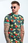 Black Tropical Printed T-shirt And Shorts Set