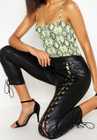 Black Wet Look Lace Up Leggings