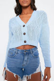 Blue Cable Cropped Button Up Cardigan