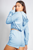 Blue Half Zip Crop Hoody and Short Set
