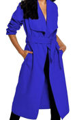 Blue Long Waterfall Duster Coat