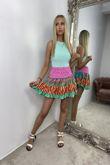 Boho Floral Print Mini Skirt