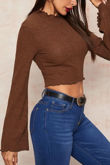 Brown Ribbed Lettuce Trim Flare Sleeve Top