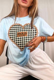 Baby Blue Dogtooth Heart Oversized Tee