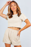 Beige Basic Shorts And Crop Top Lounge Set