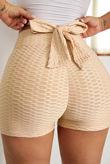 Beige Bowknot Waffle Butt Lift Gym Shorts