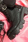 Black Croc Pocket Trim Knee High Boots