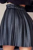 Black Faux Leather Pleated Mini Skirt