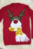 Black Kids Scarf Reindeer Knitted Christmas Jumper