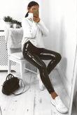 Black Shiny Vinyl PU Leggings