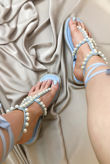 Blue Pearl T-Bar Lace Up Sandals