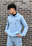 Blue Printed Hoodie And Shorts Tracksuit