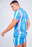 Blue Striped Shirt and Swim Short Set