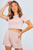 Blush Basic Shorts And Crop Top Lounge Set