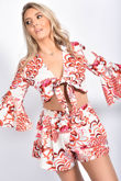 Boho Print Tie Front Flare Sleeve Crop Top & Shorts Co-Ord