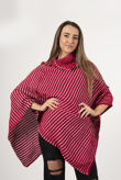 Red With White Dot Detail Cable Knit Poncho