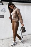 Camel Leather Look High Waist Leggings