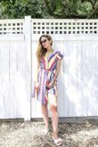 Candy Stripe Plunge Tiered Dress